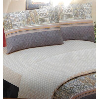 Checkered 200 Thread Count Cotton Flat Sheet Set Size: Queen