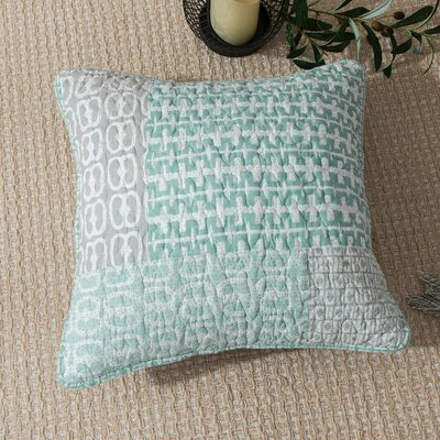 Jerrica Contemporary Geometric Textured Embossed Patchwork Quilted Square 100% Cotton Pillow Cover