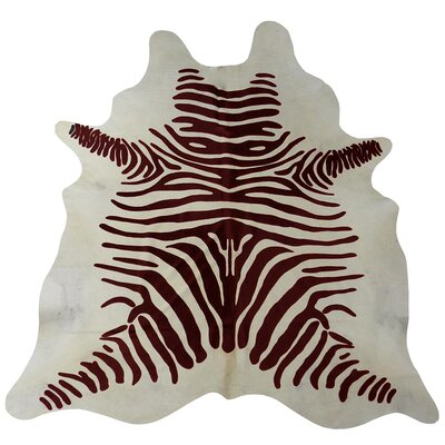 Stenciled Brazilian Cowhide Brown/White Area Rug