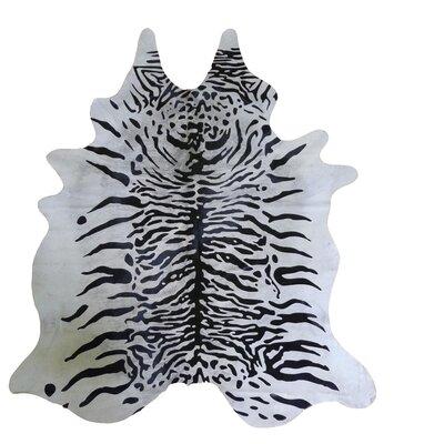 Stenciled Brazilian Cowhide Tiger Black/White Area Rug