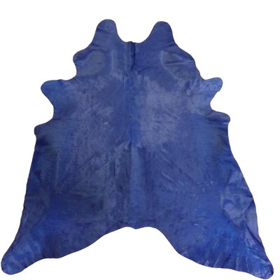 Large Dyed Brazilian Cowhide Navy Area Rug