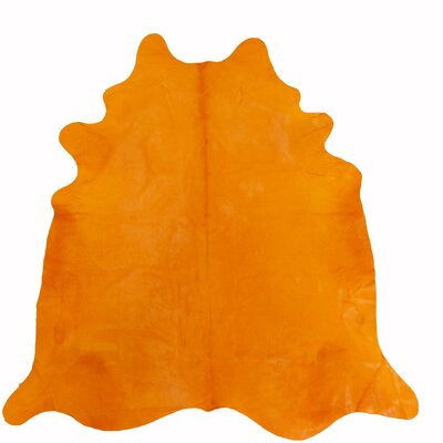 Large Dyed Brazilian Cowhide Orange Area Rug