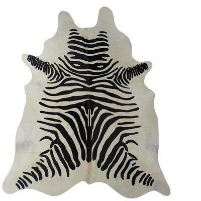 Stenciled Zebra Brazilian Cowhide Black/White Area Rug