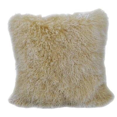 Tibetan Lamb Fur Throw Pillow Size: 18 H x 18 W, Color: Yellow Gold