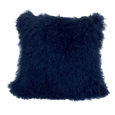 Tibetan Lamb Fur Throw Pillow Size: 18 H x 18 W, Color: Navy Blue