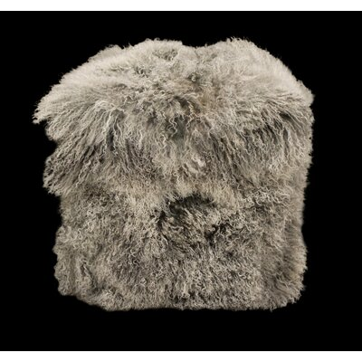 Tibetan Lamb Pouf Color: Gray Snow Top