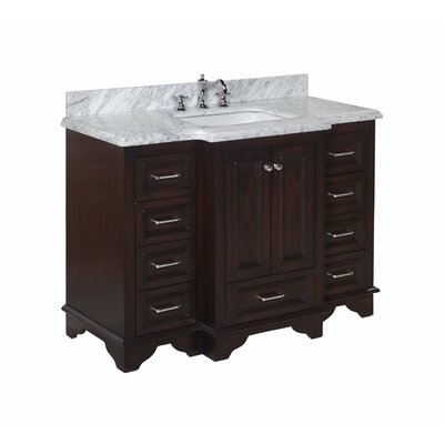 Nantucket 48 Single Bathroom Vanity Set Top Finish: Crema Marfil, Top Finish: Carrara Marble