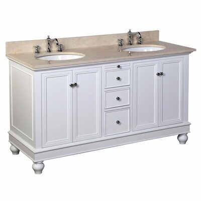 Bella 60 Double Bathroom Vanity Set Size: 60, Base Finish: White