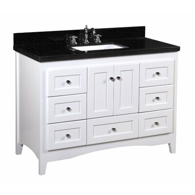 Abbey 48 Single Bathroom Vanity Set Top Finish: Black Granite, Base Finish: White