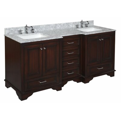 Nantucket 72 Double Bathroom Vanity Set Top Finish: Marble, Base Finish: Chocolate Brown