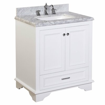 Nantucket 30 Single Bathroom Vanity Set Base Finish: White, Top Finish: Carrara Marble