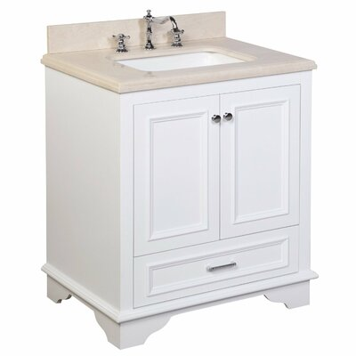 Nantucket 30 Single Bathroom Vanity Set Base Finish: White, Top Finish: Crema Marfil