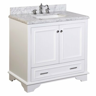 Nantucket 36 Single Bathroom Vanity Set Base Finish: White, Top Finish: Carrara Marble
