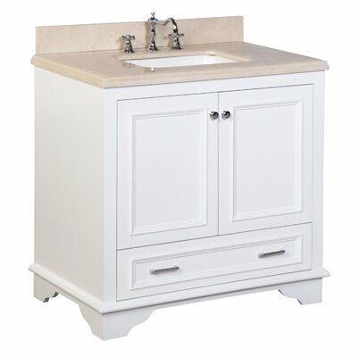 Nantucket 36 Single Bathroom Vanity Set Base Finish: White, Top Finish: Crema Marfil
