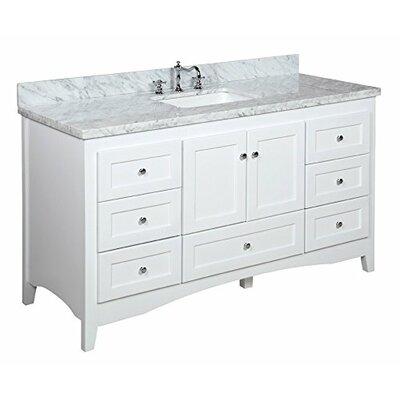 Abbey 60 Single Bathroom Vanity Set Base Finish: White, Top Finish: Carrara Marble