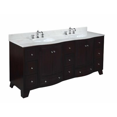 Palazzo 72 Double Bathroom Vanity Set Base Finish: Espresso, Top Finish: Marble