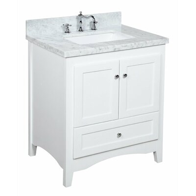 Abbey 30 Single Bathroom Vanity Set Top Finish: Carrara Marble, Base Finish: White