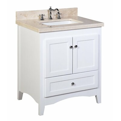 Abbey 30 Single Bathroom Vanity Set Top Finish: Crema Marfil, Base Finish: White