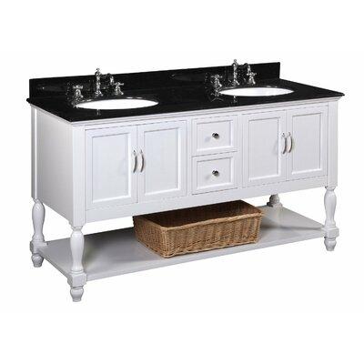 Beverly 60 Double Bathroom Vanity Set Base Finish: White, Top Finish: Black granite