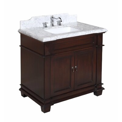 Elizabeth 36 Single Bathroom Vanity Set Base Finish: Chocolate, Top Finish: Carrara Marble