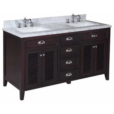 Savannah 60 Double Bathroom Vanity Set Base Finish: Brown