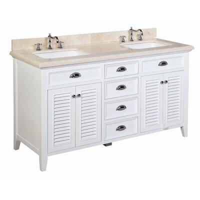 Savannah 60 Double Bathroom Vanity Set Base Finish: White, Top Finish: Crema Marfil