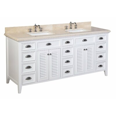 Savannah 72 Double Bathroom Vanity Set Base Finish: White, Top Finish: Crema Marfil beige marble