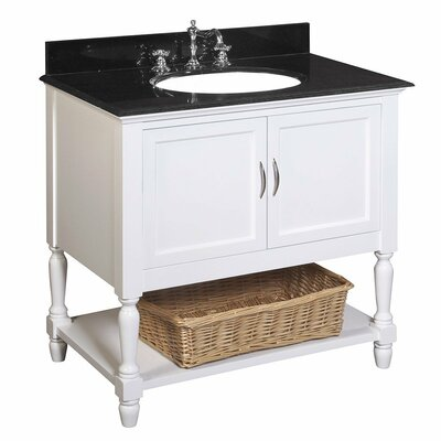 Beverly 36 Single Bathroom Vanity Set Base Finish: White, Top Finish: Black granite