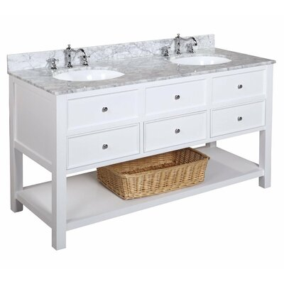 New Yorker 60 Double Bathroom Vanity Set Base Finish: White, Top Finish: White Marble