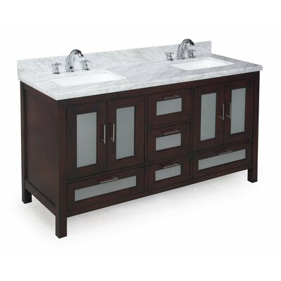 Manhattan 60 Double Bathroom Vanity Set Base Finish: Chocolate