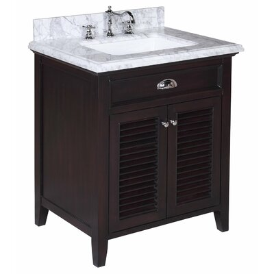 Savannah 30 Single Bathroom Vanity Set Base Finish: Chocolate, Top Finish: Carrara Marble
