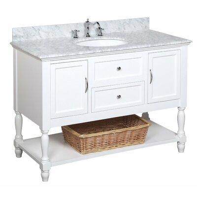 Beverly 48 Single Bathroom Vanity Set Base Finish: White Marble, Top Finish: Crema Marfil