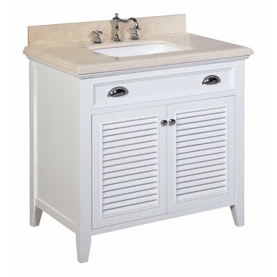 Savannah 36 Single Bathroom Vanity Set Base Finish: White, Top Finish: Crema Marfil beige marble