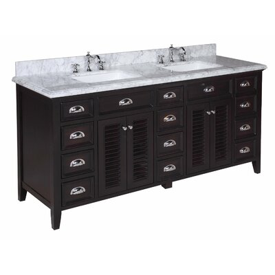 Savannah 72 Double Bathroom Vanity Set Base Finish: Chocolate, Top Finish: Carrara Marble