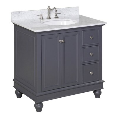 Bella 36 Single Bathroom Vanity Set Base Finish: Charcoal Gray, Top Finish: Quartz