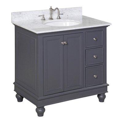 Bella 36 Single Bathroom Vanity Set Base Finish: Charcoal Gray, Top Finish: Carrera White