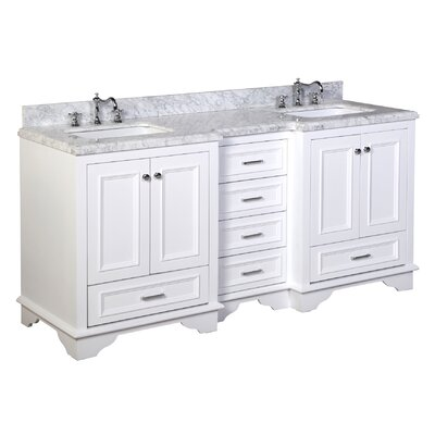 Nantucket 72 Double Bathroom Vanity Set Top Finish: Carrara Marble, Base Finish: White