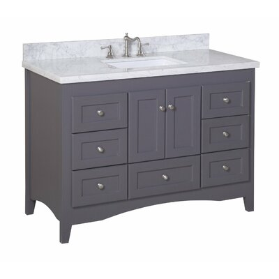 Abbey 48 Single Bathroom Vanity Set Base Finish: White, Top Finish: Crema Marfil