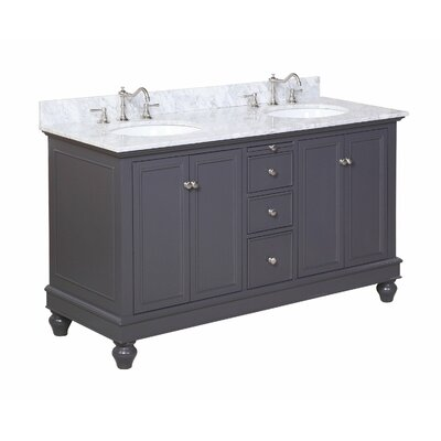 Bella 60 Double Bathroom Vanity Set Size: 60, Base Finish: Charcoal Gray