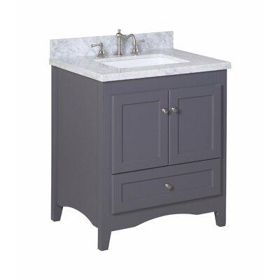Abbey 30 Single Bathroom Vanity Set Top Finish: Carrara Marble, Base Finish: White