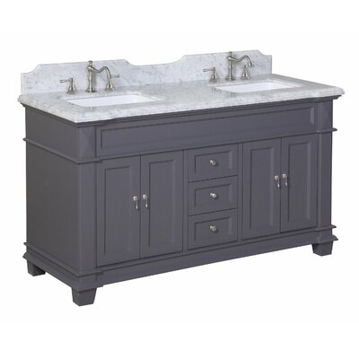Elizabeth 60 Double Bathroom Vanity Set Top Finish: Quartz, Base Finish: White