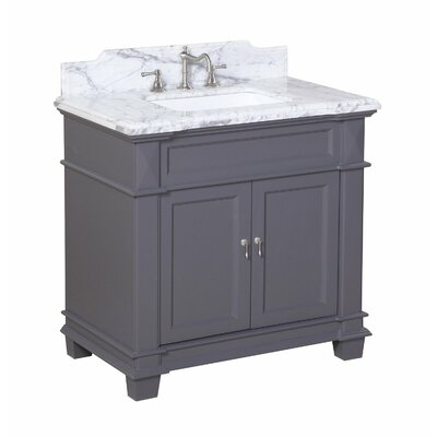 Elizabeth 36 Single Bathroom Vanity Set Base Finish: White, Top Finish: White Marble