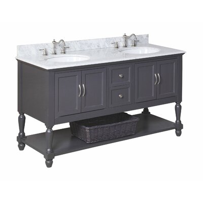 Beverly 60 Double Bathroom Vanity Set Size: 60, Base Finish: Charcoal Gray