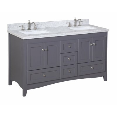 Abbey 60 Double Bathroom Vanity Set Size: 60, Base Finish: Charcoal Gray, Top Finish: Carrara Marble