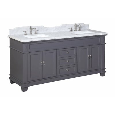 Elizabeth 72 Double Bathroom Vanity Set Base Finish: Charcoal Gray, Top Finish: Carrara Marble