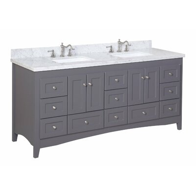 Abbey 72 Double Bathroom Vanity Set Base Finish: Charcoal Gray, Top Finish: Marble
