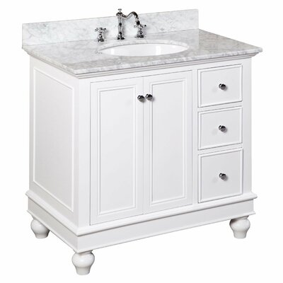 Bella 36 Single Bathroom Vanity Set Base Finish: White, Top Finish: Quartz