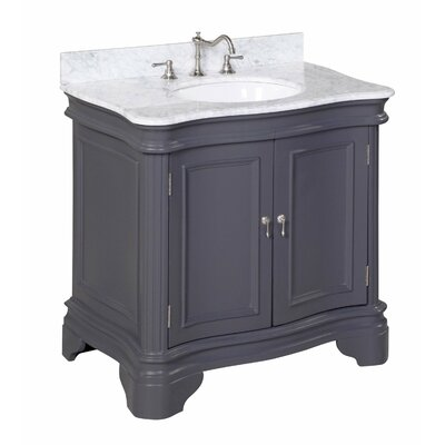 Katherine 36 Single Bathroom Vanity Set Base Finish: Charcoal Gray, Top Finish: Marble