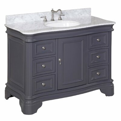 Katherine 48 Single Bathroom Vanity Set Base Finish: Charcoal Gray, Top Finish: Carrara Marble