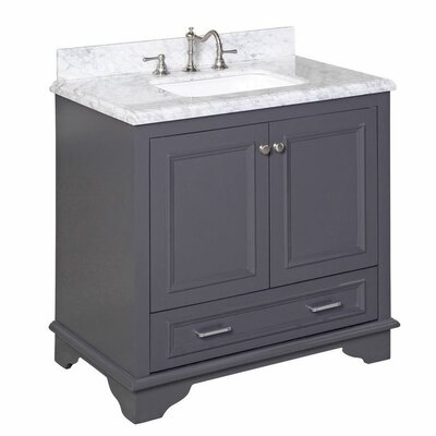 Nantucket 36 Single Bathroom Vanity Set Base Finish: Charcoal Gray, Top Finish: Carrara Marble